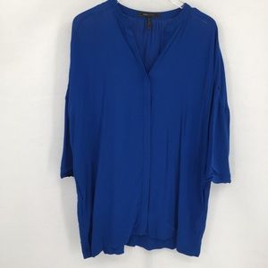 BCBG MaxAzria blue oversized tunic blouse top XS S